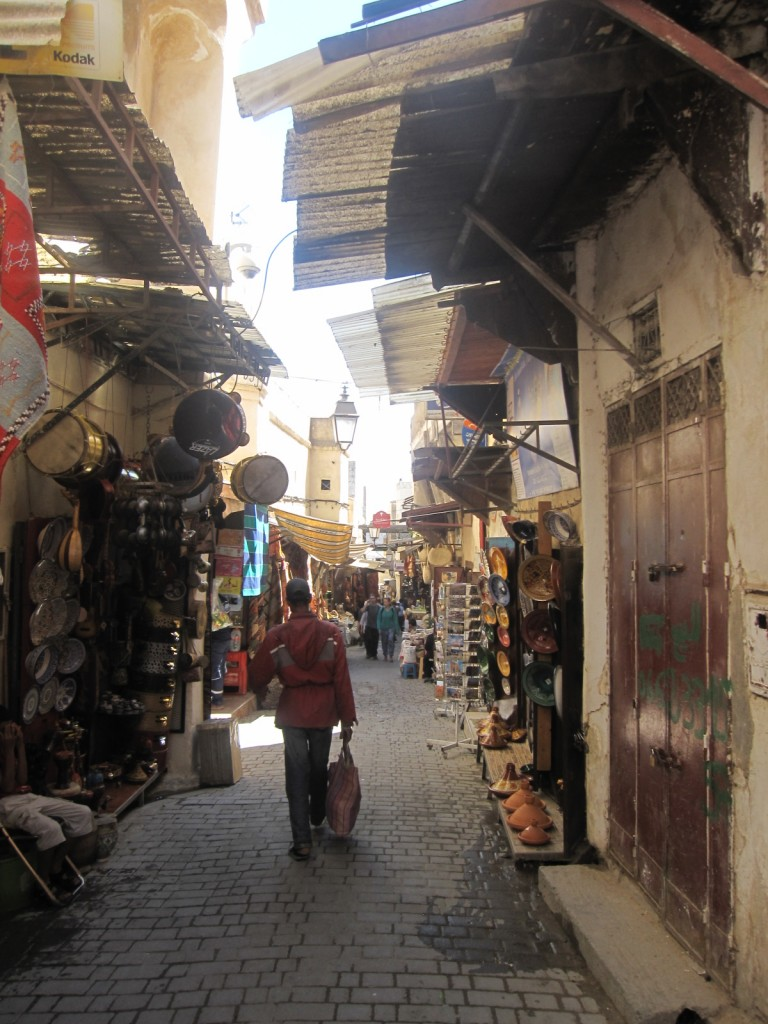 A street in the medina in Fez. The Rabat medina was very similar, but not as hectic.