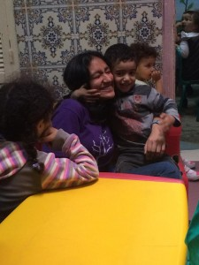 Yusuf, one of the little kids at the nursery, would not let go of me!